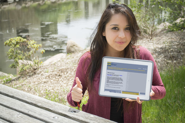 RVC student Maria shows off her iPad logged onto RVC Online Services