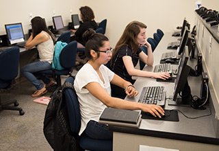 Students taking placement tests in the Rock Valley College Testing Center