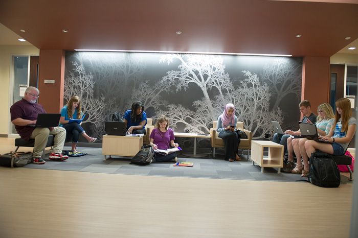 Students study in the lower level of the JCSM in front of the fractal tree murals.