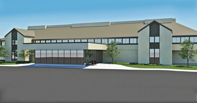 Exterior rendering of the remodel project for the RVC-NIU Engineering partnership in the Woodward Technology Center.