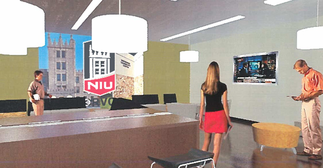 Interior lobby rendering of the remodel project for the RVC-NIU Engineering space in the Woodward Technology Center.