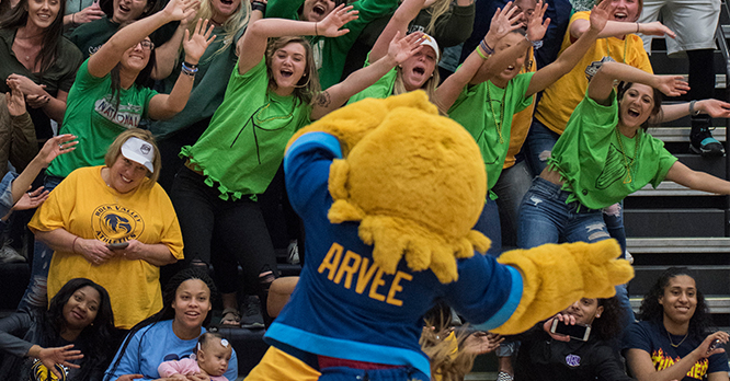 Arvee Leading a Crowd at a Game
